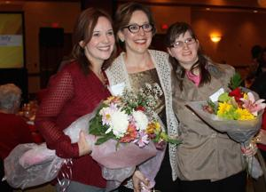 <p>Sheila Robb (left), nominated by Tucker's House, was named as Woman of the Year by the Patricia Heart Society as part of United Way of Williamson County. Rena Booker (center), nominated by ARC of Williamson County, and Christy Webb, nominated by WAVES, were also named as finalists.</p>