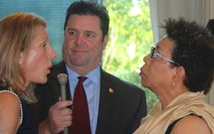 <p>Derby Jones (center), Williamson Herald publisher, interviewedJulie Taleghani (left) Chairman of the Williamson County Republican Party and incumbent Franklin Alderman-at-Large Pearl Bransford on the party endorsing challenger Steven Undercoffer during the city's nonpartisan elections.</p>