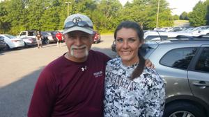 <p>Franklin's Libby Sugg (r), seen here with now retired Rebel coach Marshall Winkler, has been named to the Tennessee Sports Writers Association's Class AAA All State team. She has committed toplay at Brigham Young University.</p>