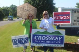 <p>Peg Kelly and Laura McClendon campaign this morning at New Hope Church on Wilson Pike.</p>