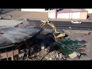Former bank building comes down