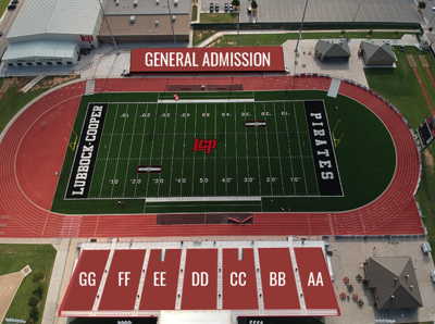 Lubbock Cooper Pirate Stadium with updated sections