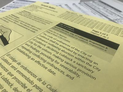Proposition A, Sanctuary City for the Unborn sample ballot