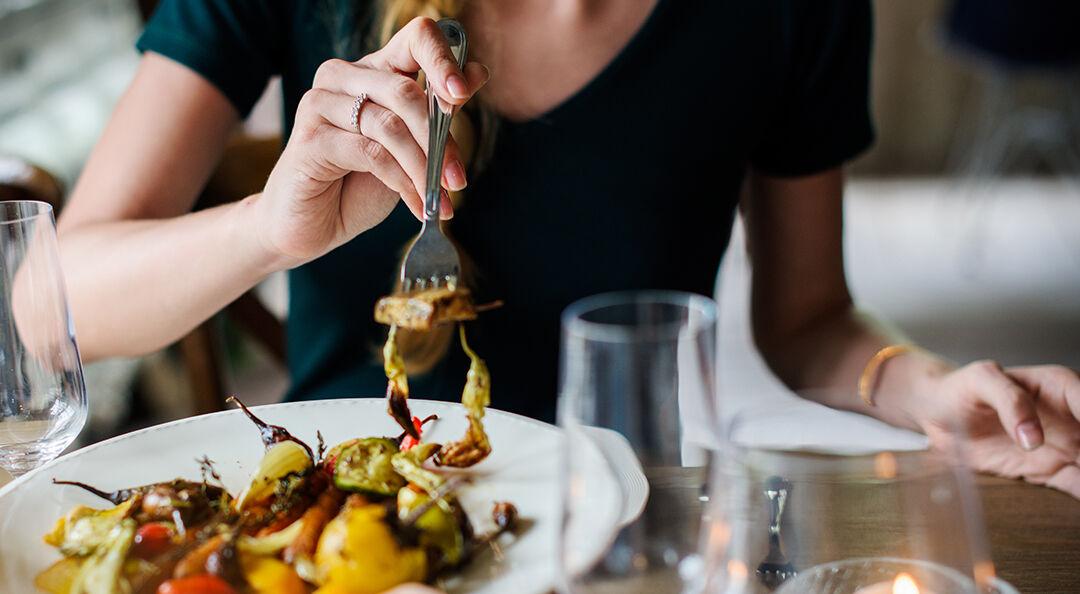 Woman Getting Food On Wedding Dinner