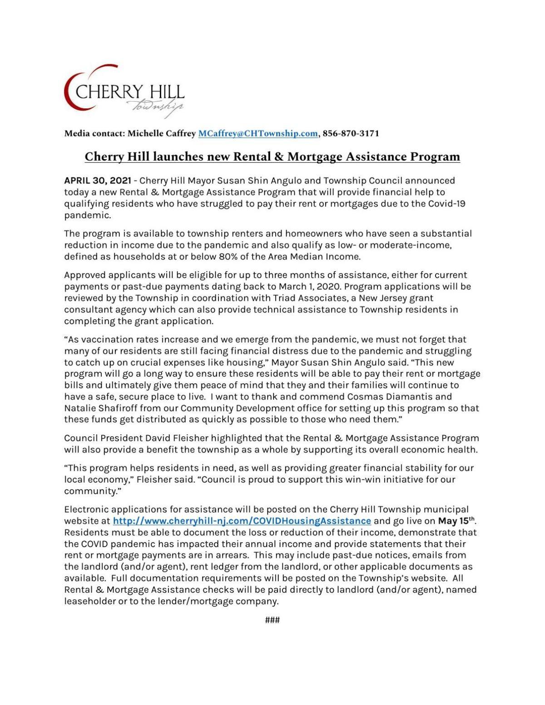 Cherry Hill's announcement of assistance program