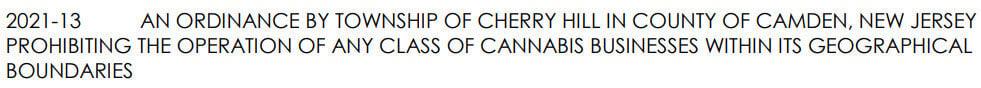CHERRY HILL CANNABIS ORDINANCE FROM AGENDA