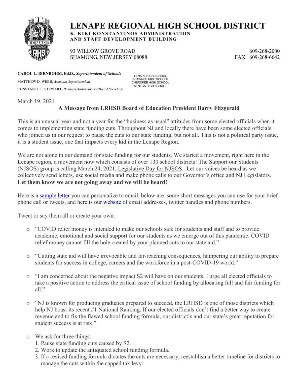 Community letter from the Lenape regional Board of Education