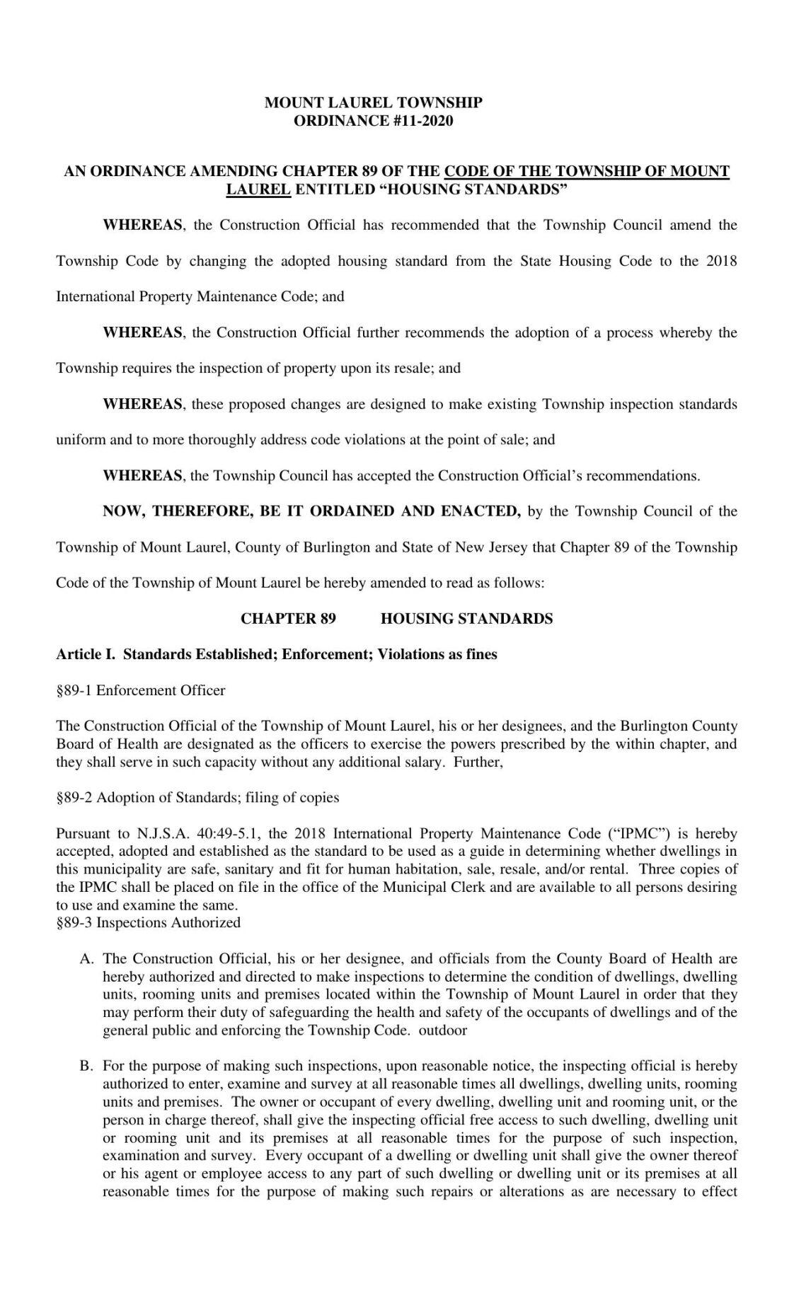 Mount Laurel home inspection ordinance