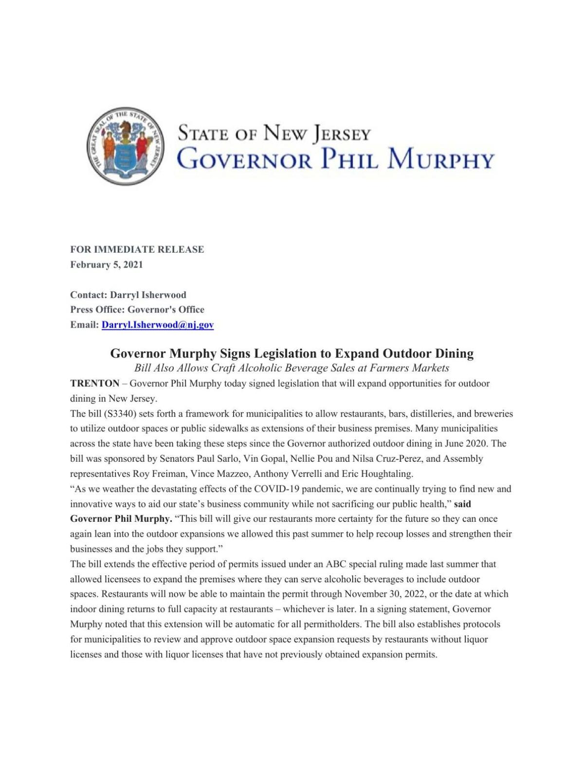 Governor's news release on outdoor dining law.
