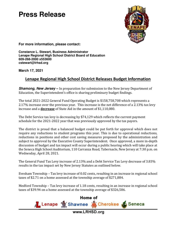 Lenape Regional district preliminary budget announcement