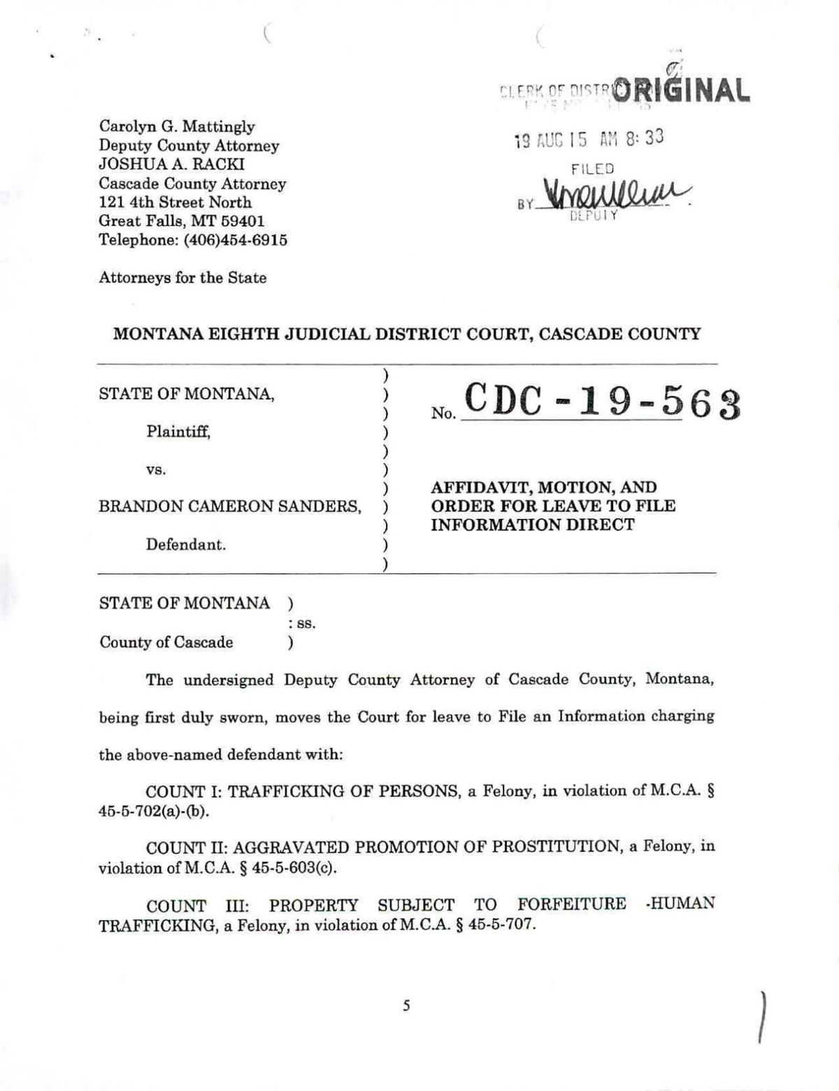 Court documents on Brandon Sanders and the sex trafficking incident
