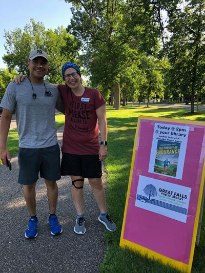 Great Falls Public Library director Susie with a runner