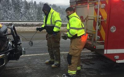 Three rescued after car falls down ravine off Homestake Pass