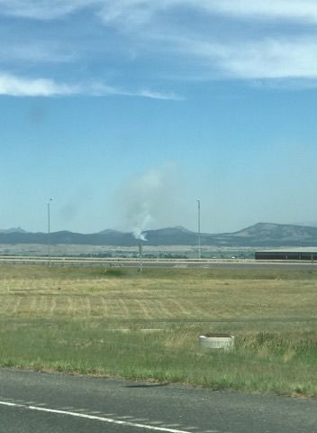 Smoke visible from wildfire North of Helena