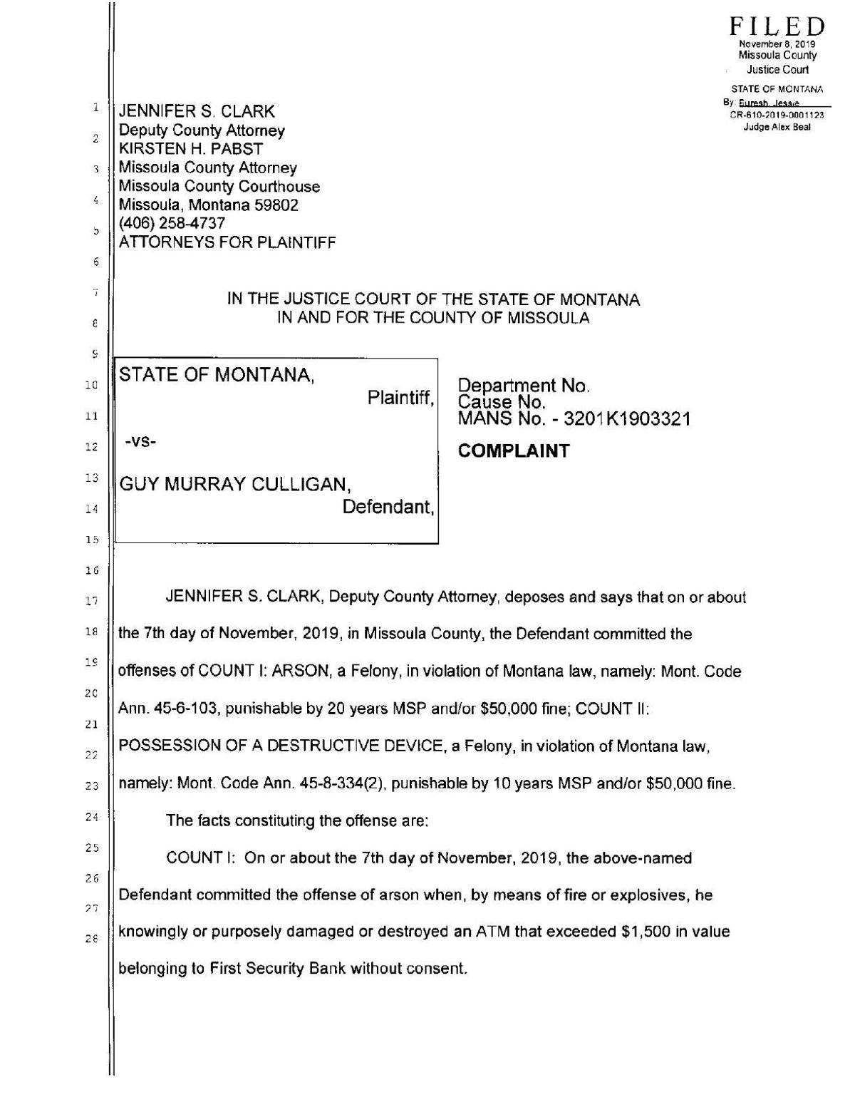 Guy Murray Culligan - Affidavit & Complaint