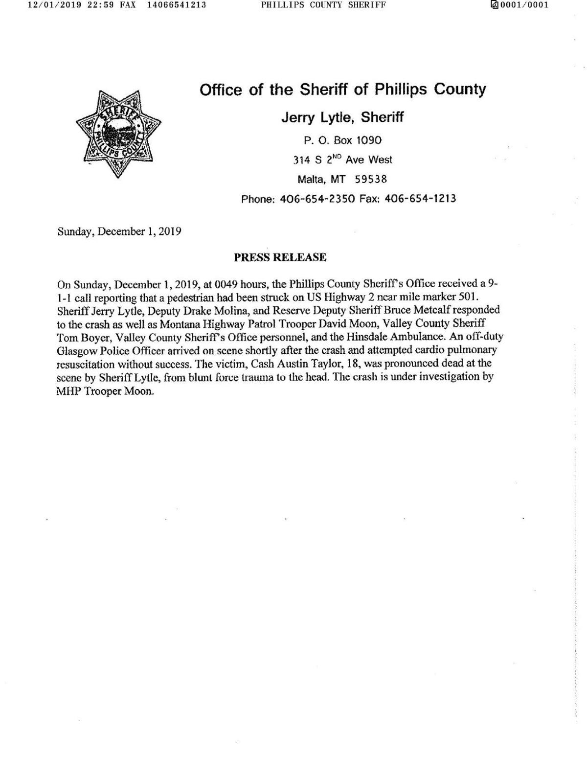 Phillips County Sheriff Office Press Release