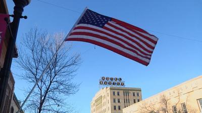 American flag in Bozeman, Baxter Hotel
