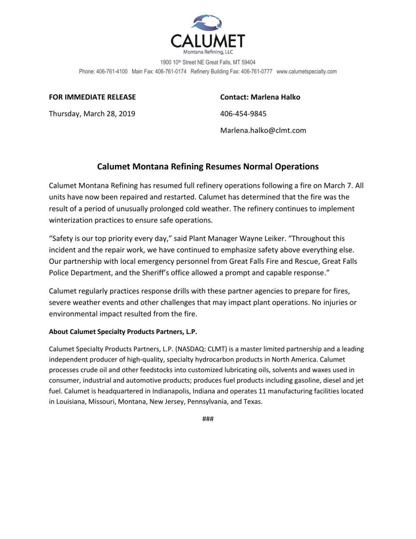 Calumet Montana Refining Resumes Normal Operations