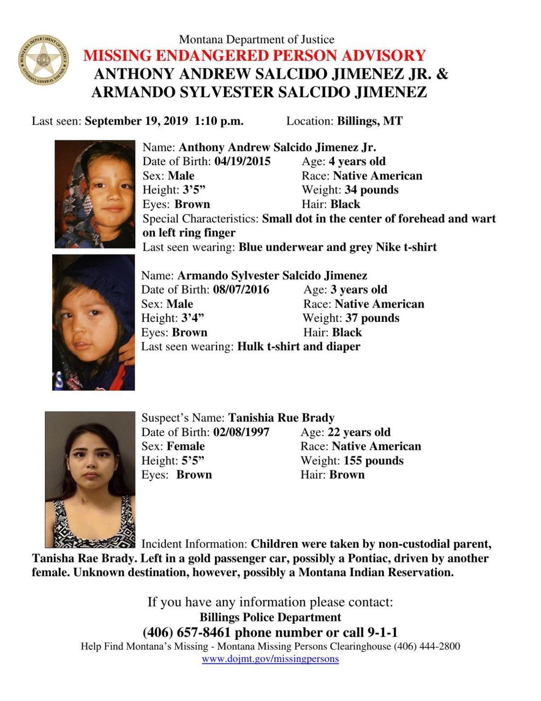 Missing Endangered Person Advisory issued for two Billings children