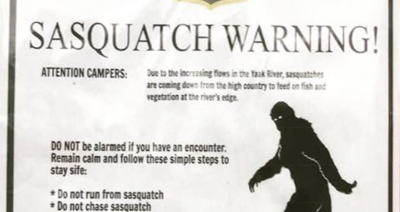 Sasquatch warnings posted in Northwest Montana
