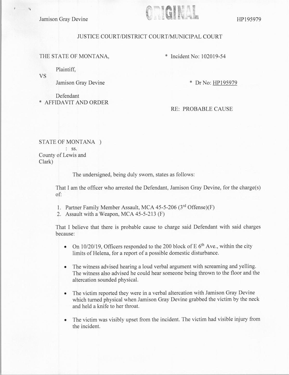 Affidavit for Jamison Devine