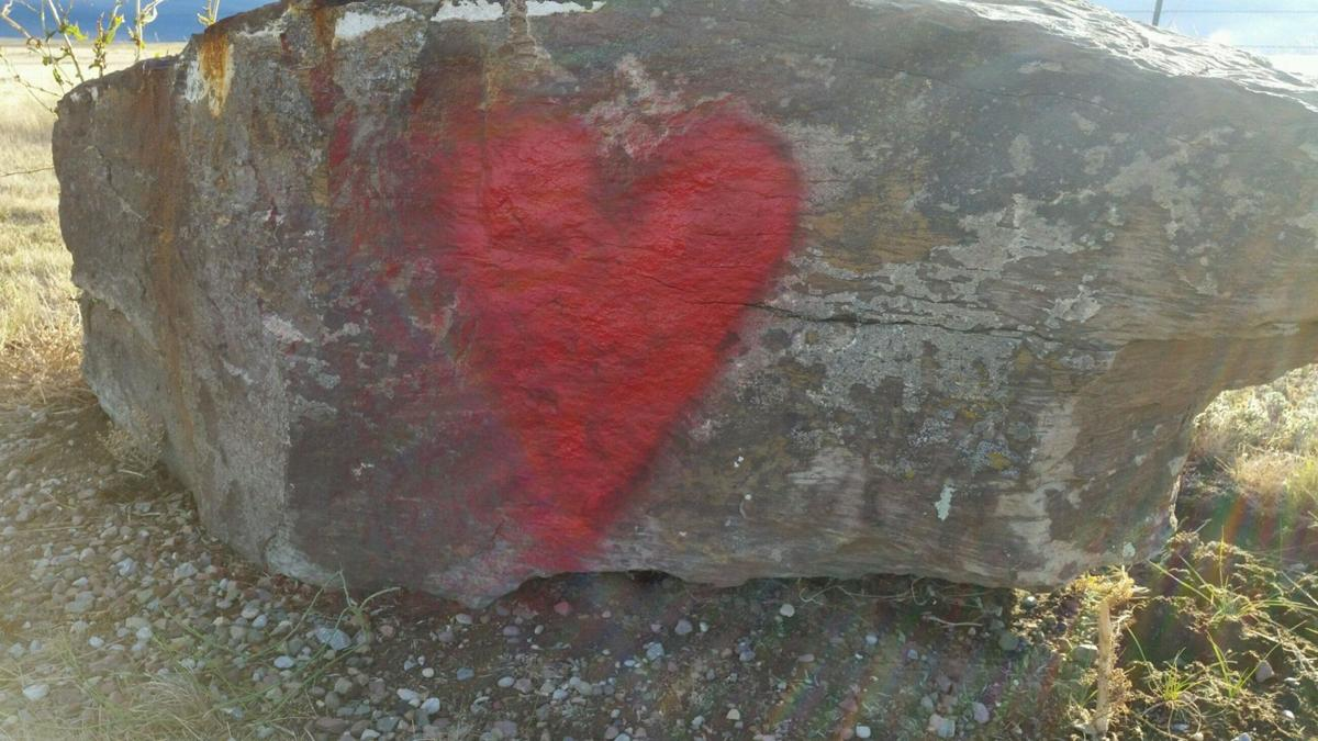 Red spray-painted heart