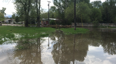 Clark Fork reaches flood stage, water covering roads on Kehrwald Drive