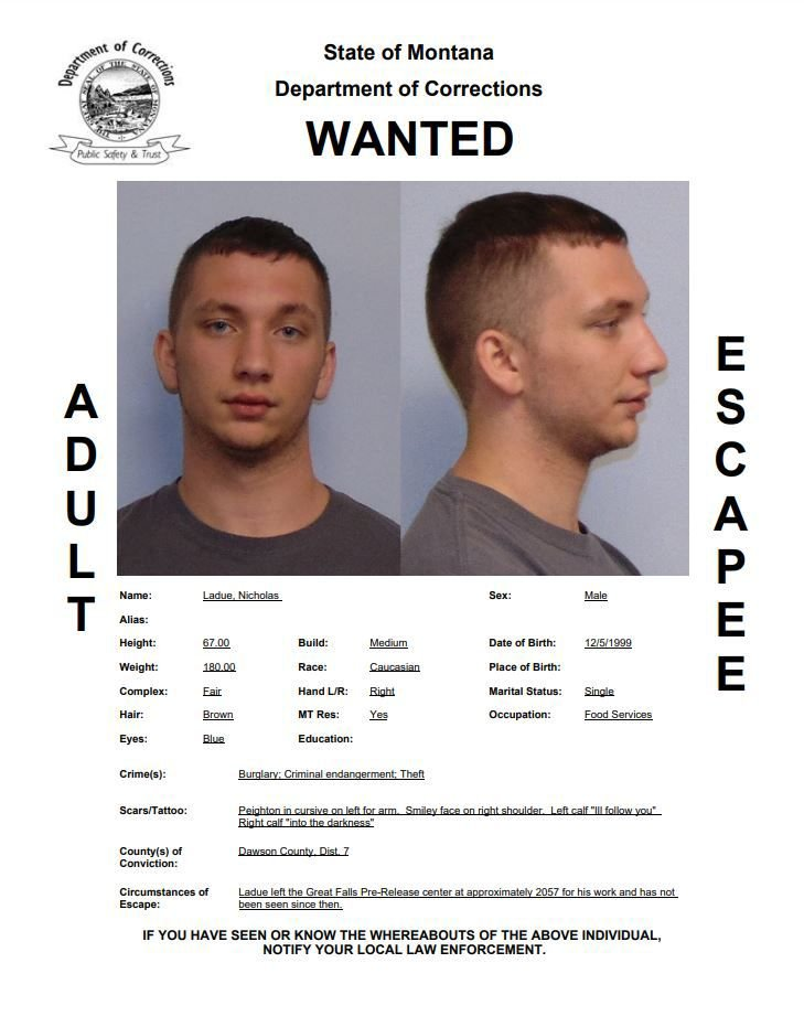 Nicholas Ladue wanted poster