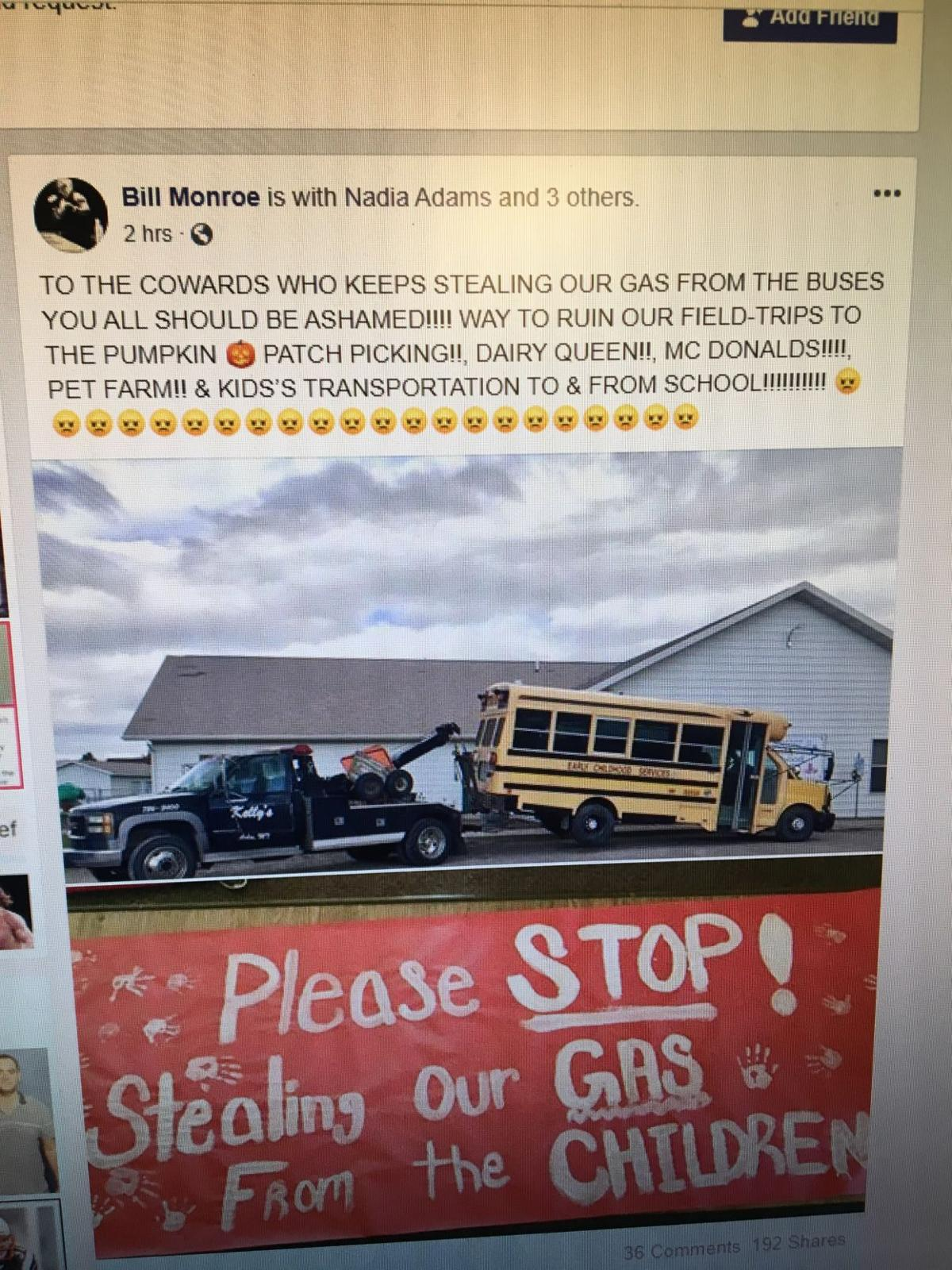 Thieves steal gas from school bus; tribal police say not the first time
