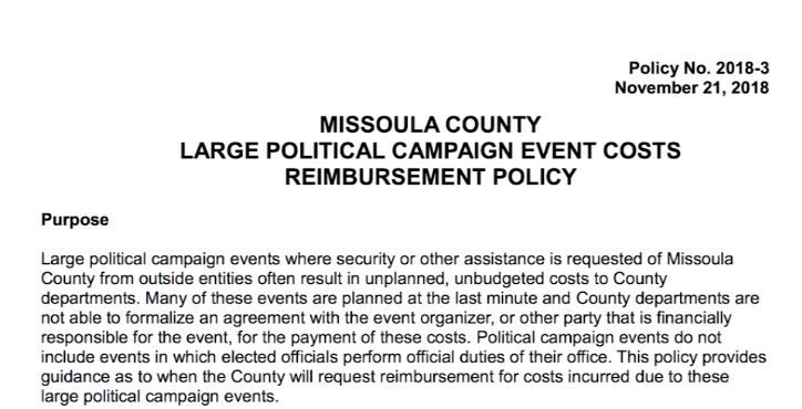 Missoula County Political Campaign Costs