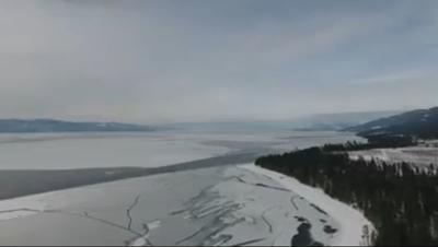 flathead lake freezesover