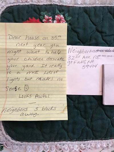 Family receives letter complaining about Christmas lights.