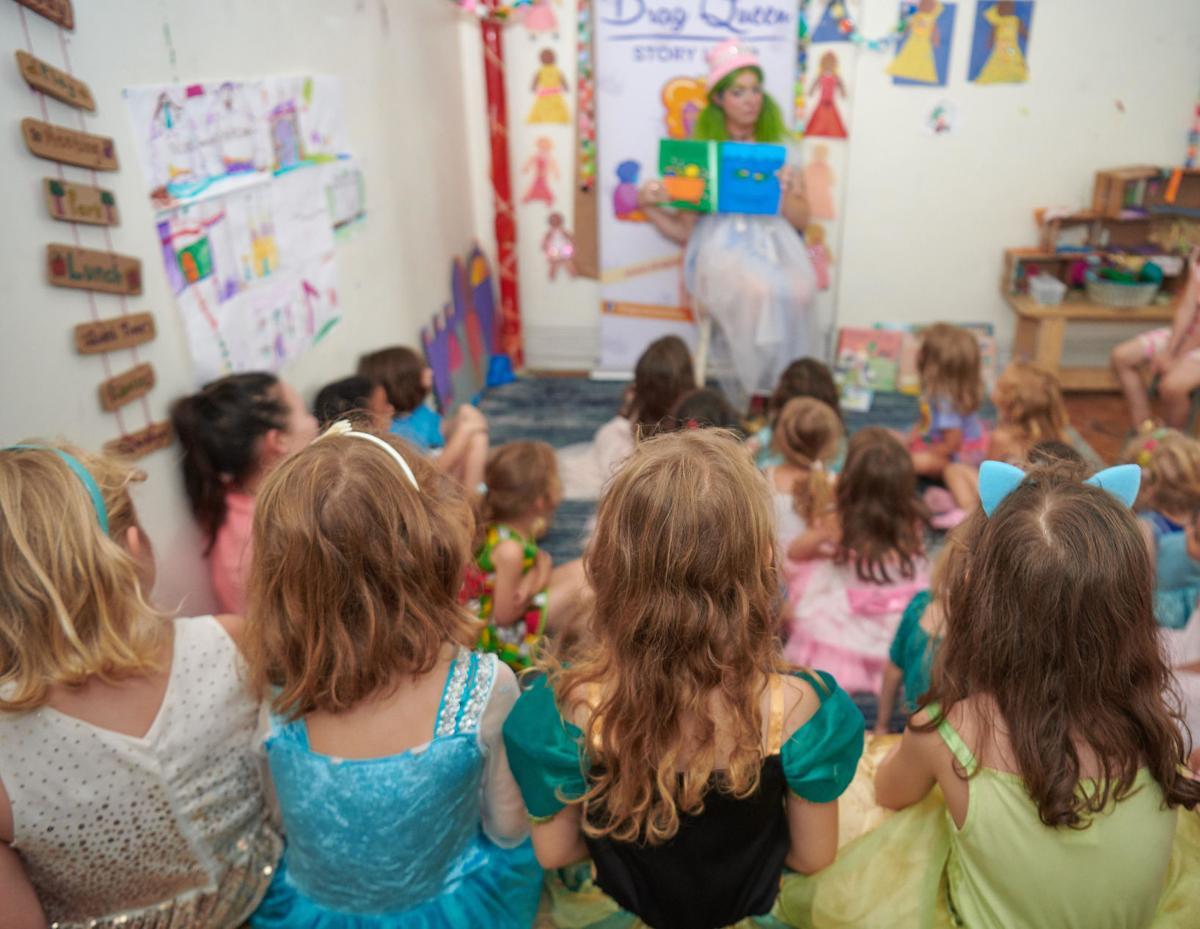 Drag queen reads in front of children