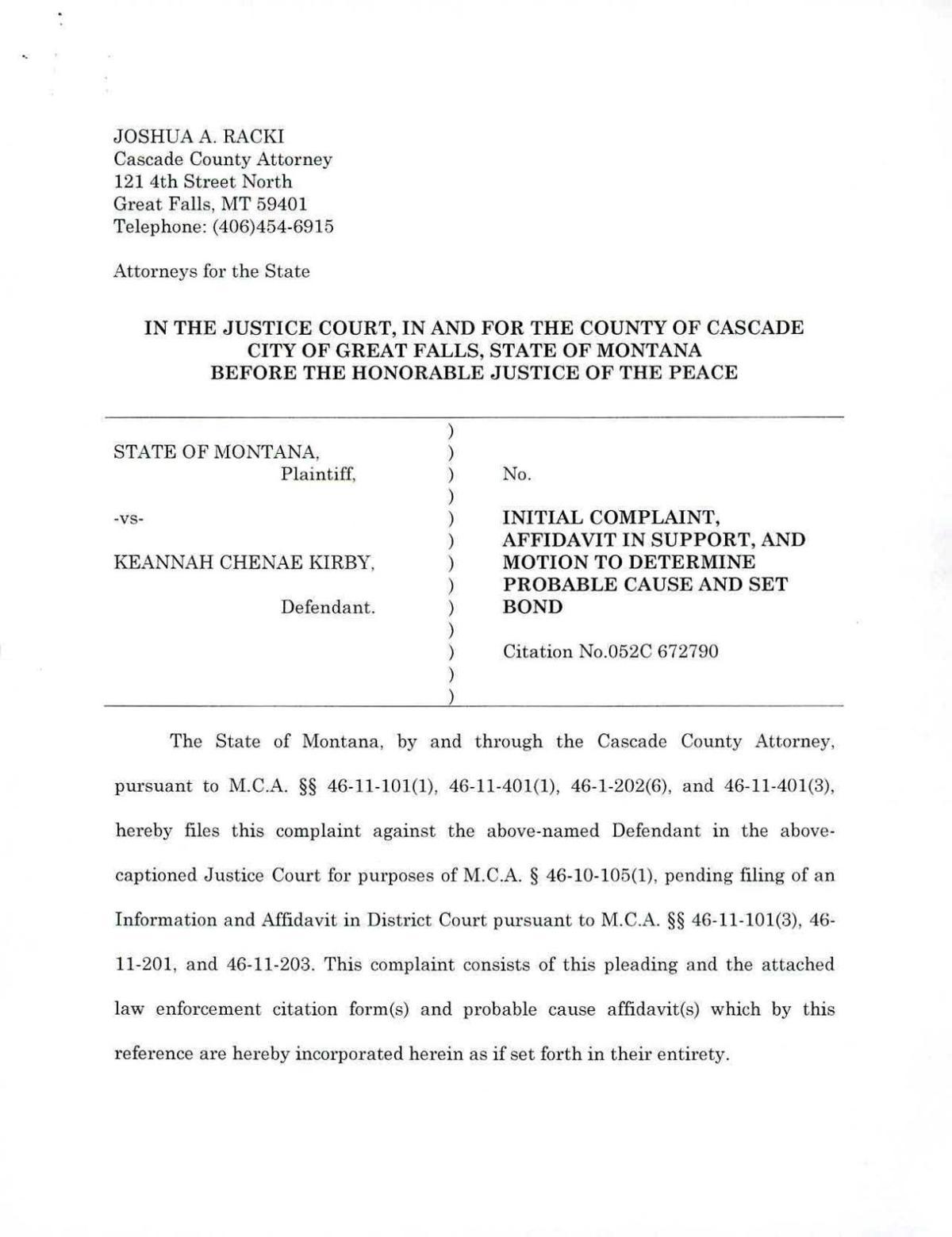 Keannah Chenae Kirby Court Documents