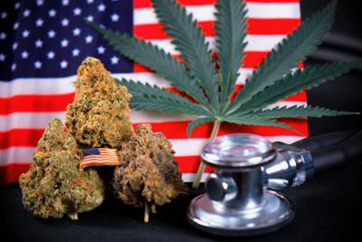 Cannabis bud, leaf and american flag with smoke  - veteran medical marijuana concept