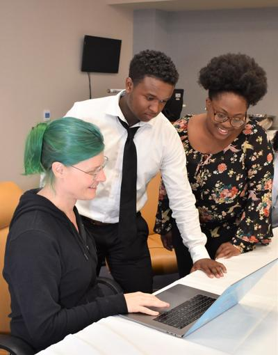 Albany State University students participate in mock interviews with Google representative