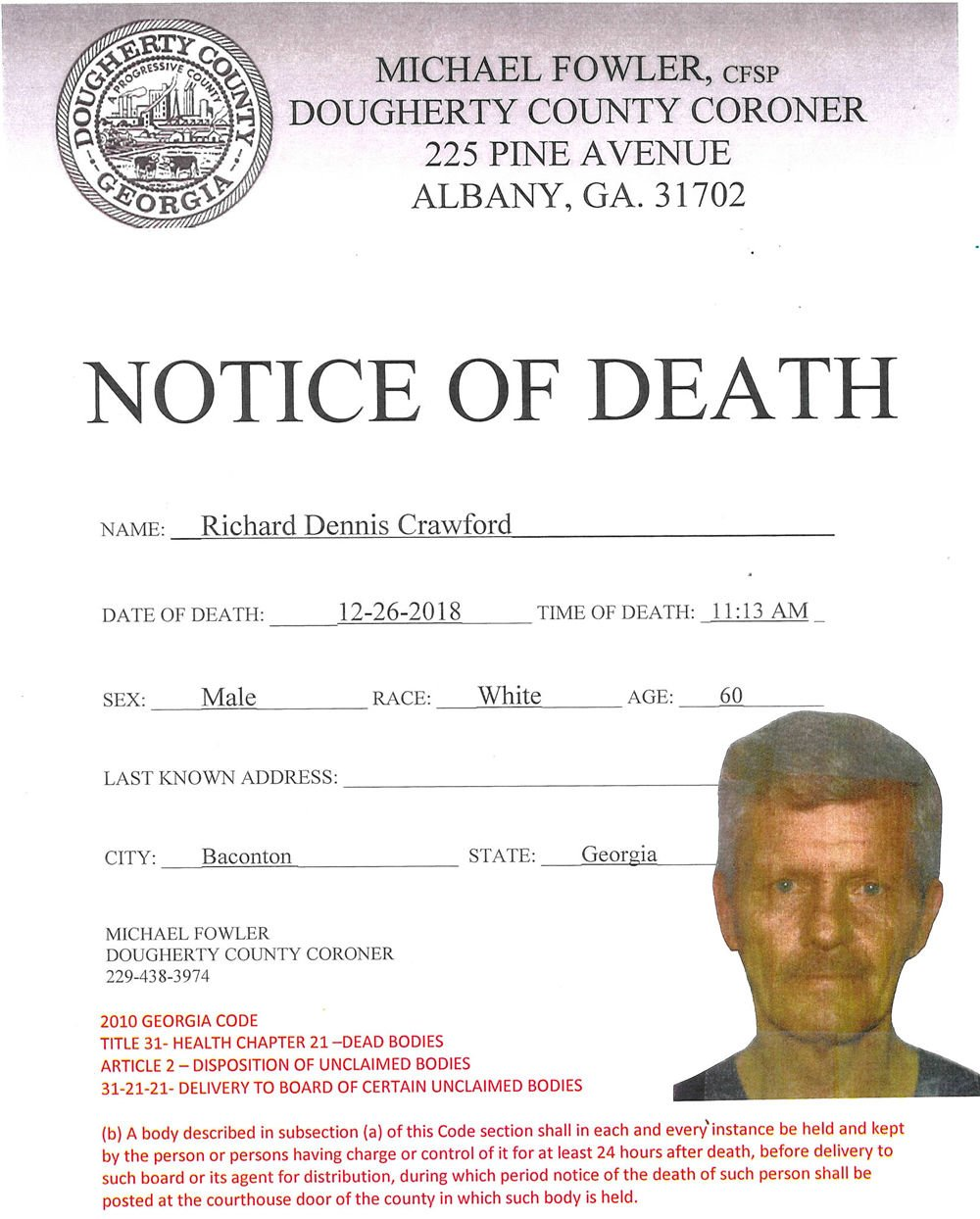 Dougherty County coroner releases name of man found dead in