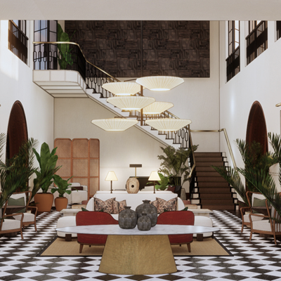 A computer-generated view of the interior of a renovated Gordon Hotel looking out on Albany was presented last year to the Albany City Commission.
