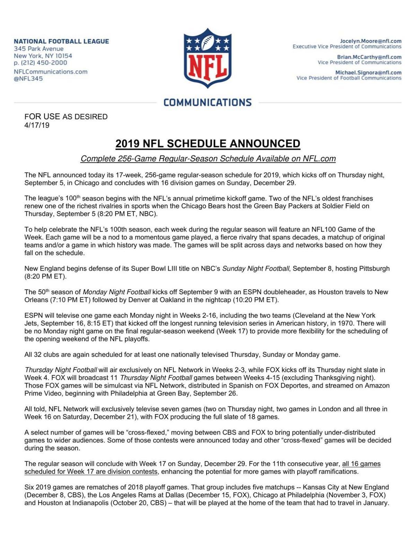 FULL NFL SCHEDULE | Sports | albanyherald com