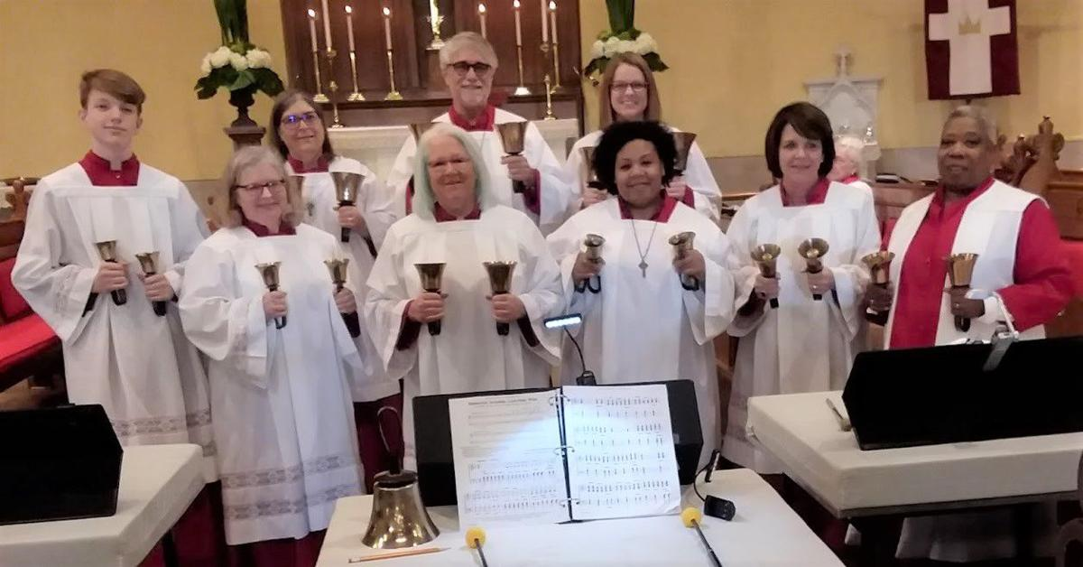 St Paul 212 Jefferson Street Albany Ga Church Christmas 2020 Handbell Choir ringing up Christmas gift for soup kitchen | Albany