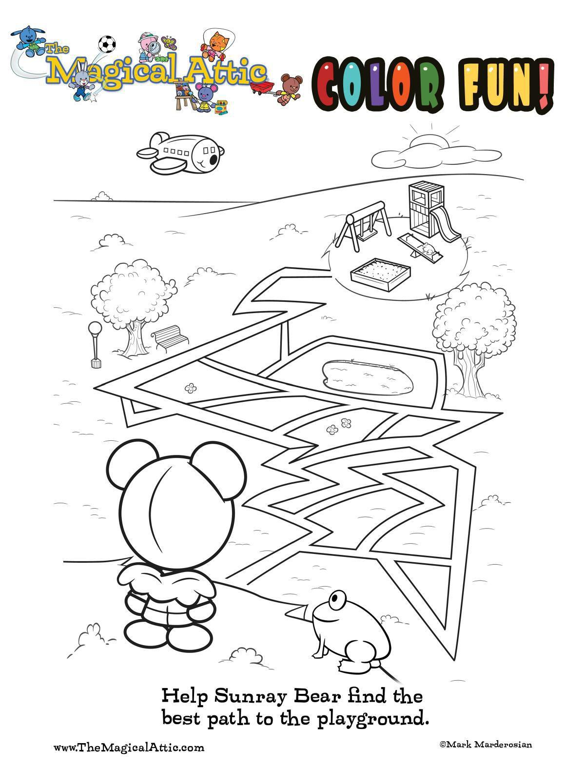 Coloring fun with Sunray Bear at the playground