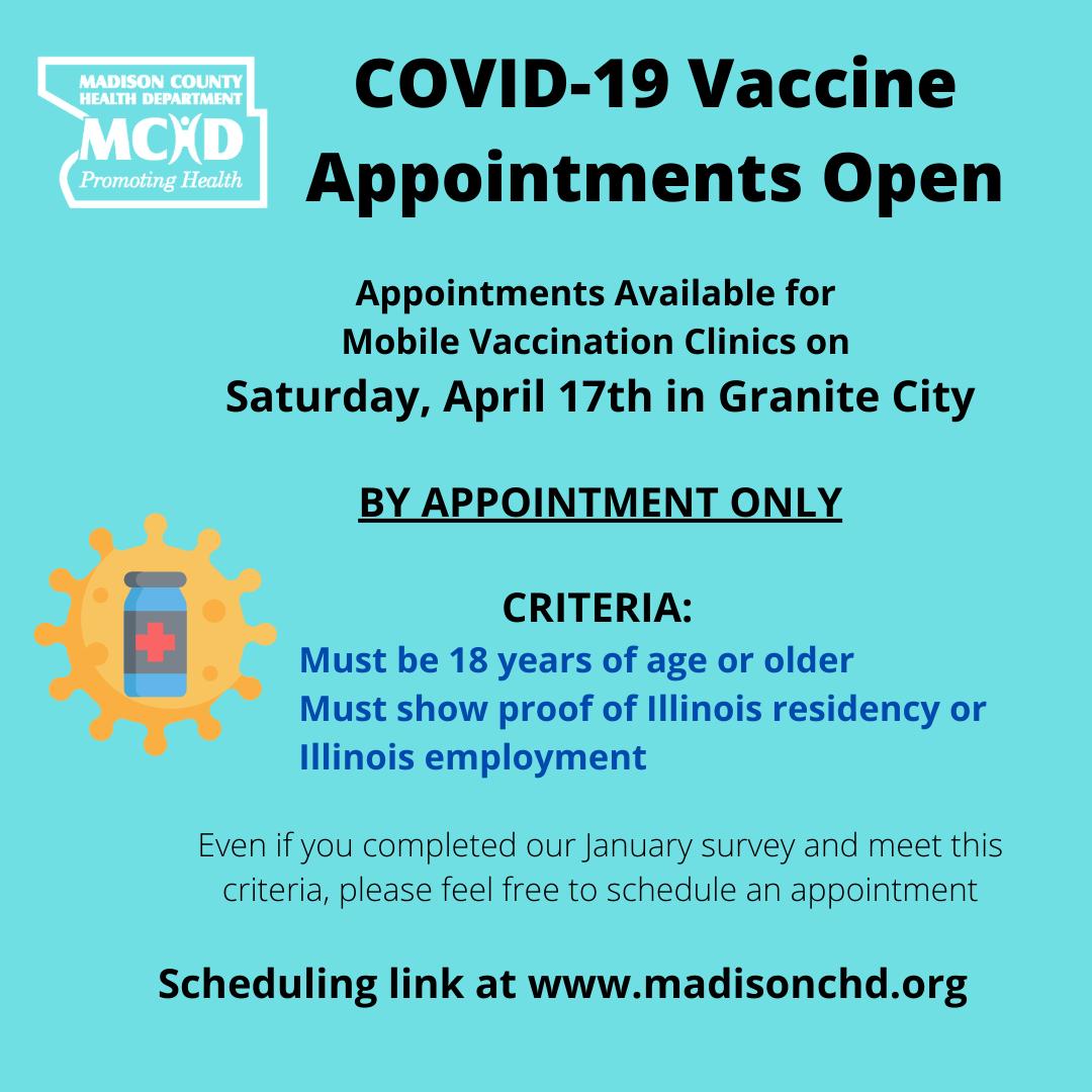 COVID-19 Vaccine Appointments Open - Mobile Sites - Granite - April 17