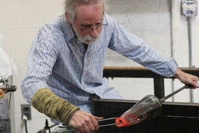 Local glass artist visits SIUE's campus and makes glass work look effortless