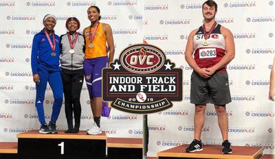Three Cougars bring home gold from OVC Indoor Track and Field Championships