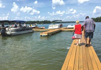 on the pontoon