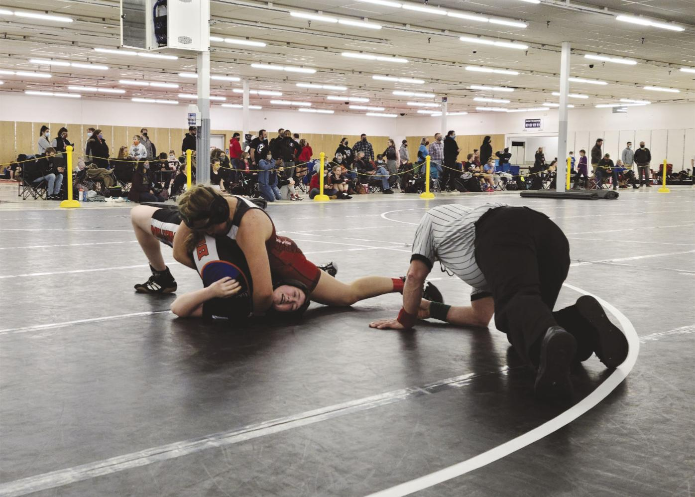 Securing the pin, Alex Hofrichter on top, Lillian Riggle on bottom.jpg