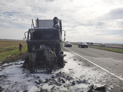 Semi-truck catches fire on I-5 in Glenn County