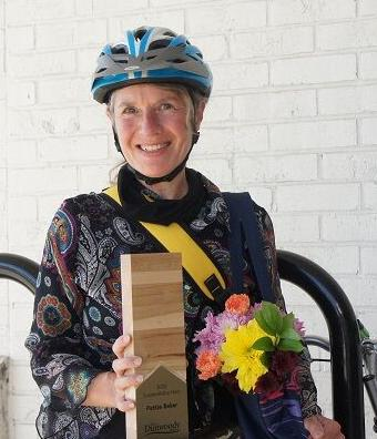 Patty Baker accepting Sustainability Heroes award