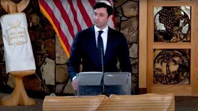 Ossoff speaks at Temple Emanu-El in Dunwoody