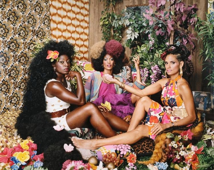Mickalene Thomas (American, born 1971),Les Trois Femmes Deux, 2018,dye coupler print,2018.214, High Museum of Art, Atlanta. Purchase with funds from the Friends of Photography
